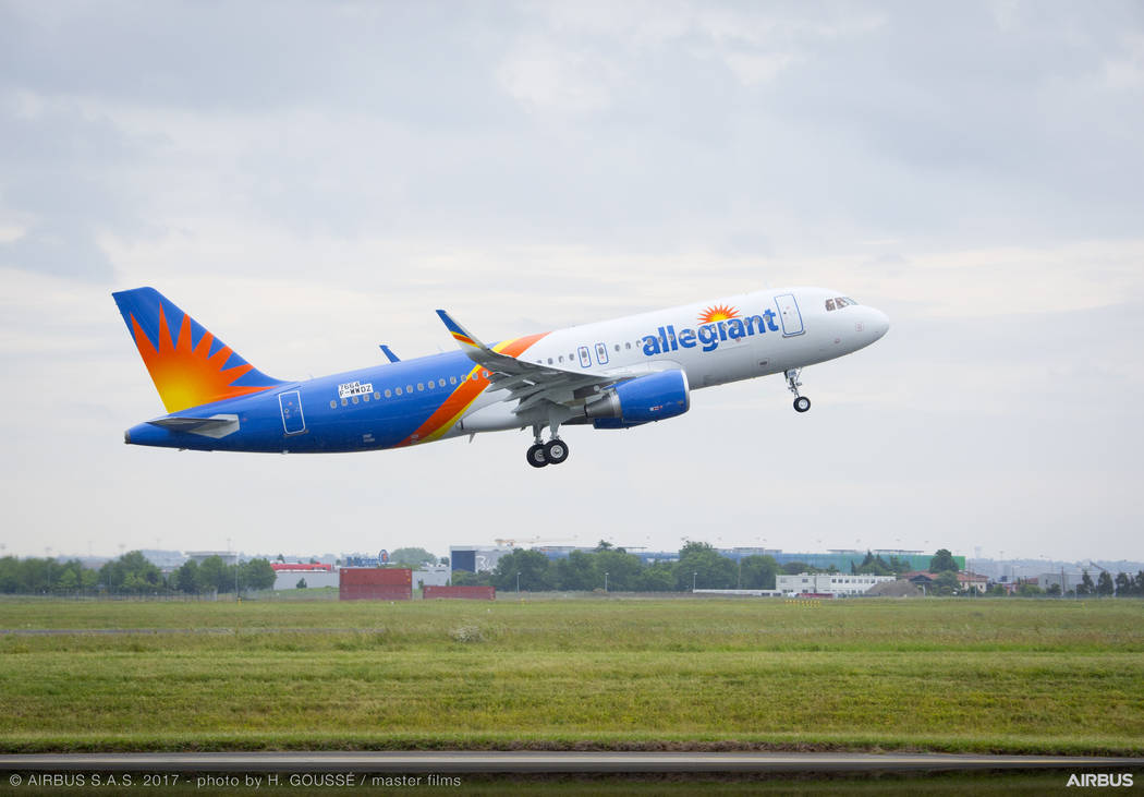 This handout photo from Airbus shows an Allegiant's new A320 jet departing from Toulouse, France, on its way to the U.S. Airbus Photo