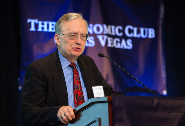 Stephen Miller, a professor of economics at  University of Nevada, Las Vegas and chairman of The Economic Club of Las Vegas, addresses attendees of the first event hosted by the club Thursday, Jan ...