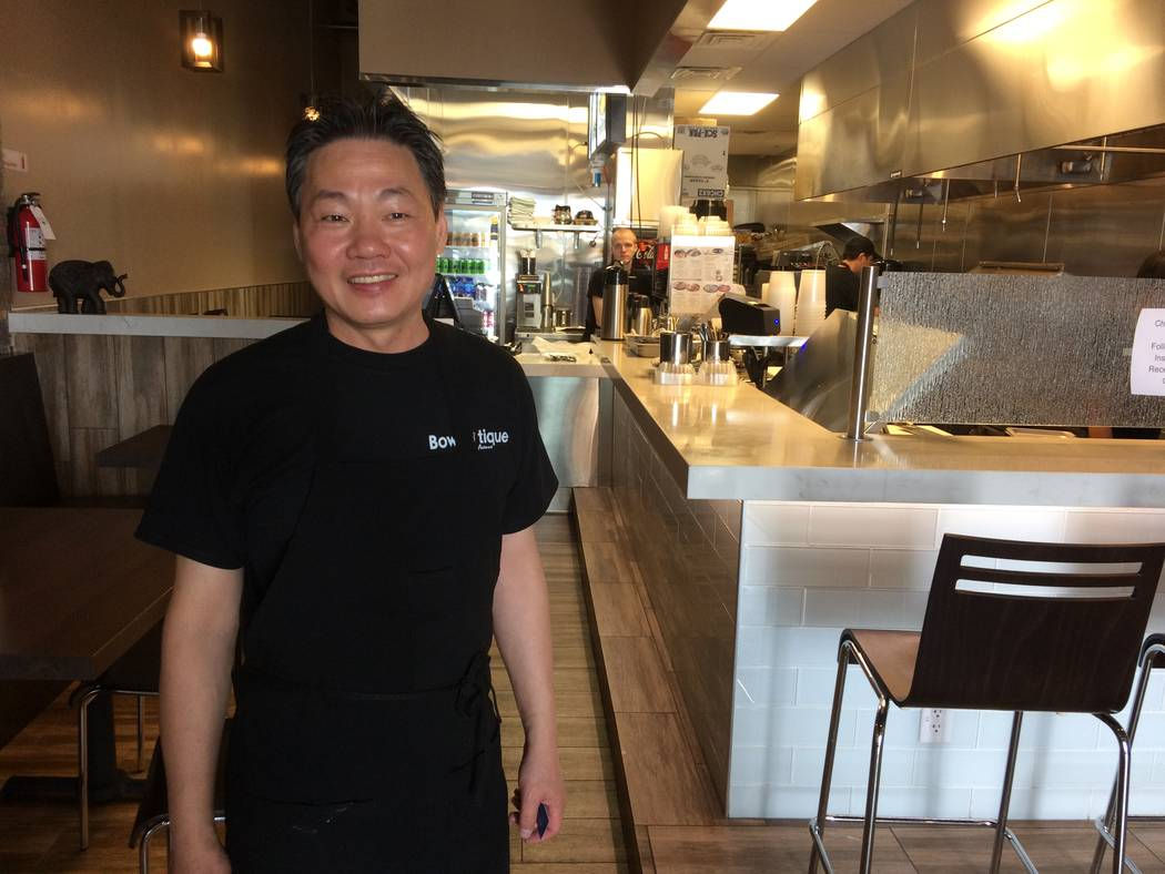 Alan Zheng, owner of Bowl Tique Avenue, 4075 S. Durango Drive, Suite 106, is seen May 17, 2017. He was born and raised in China and began working in kitchens as a child. He wants to take the brand ...