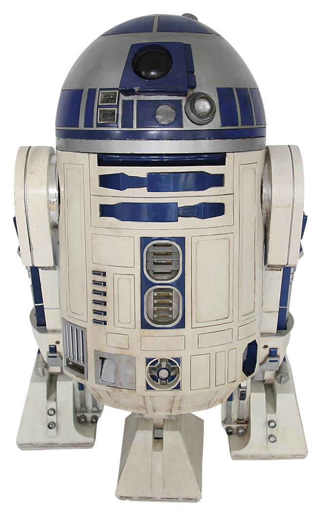 This 2017 photo provided by Profiles in History shows an R2-D2 droid pieced together over several years from different props used in the first five Star Wars movies, which will be among several St ...