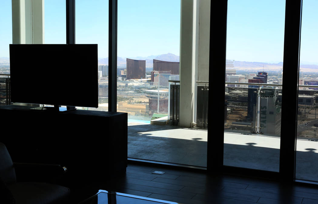 A view of the Strip from a penthouse at Palms Place at 4381 W. Flamingo Rd., on Wednesday, June 14, 2017, in Las Vegas. Bizuayehu Tesfaye/Las Vegas Review-Journal @bizutesfaye