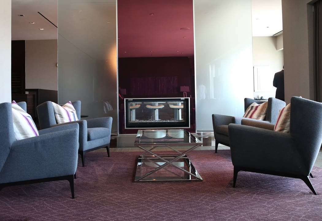 A living room with a see-through fire place inside a penthouse at Palms Place at 4381 W. Flamingo Rd., on Wednesday, June 14, 2017, in Las Vegas. Bizuayehu Tesfaye/Las Vegas Review-Journal @bizute ...