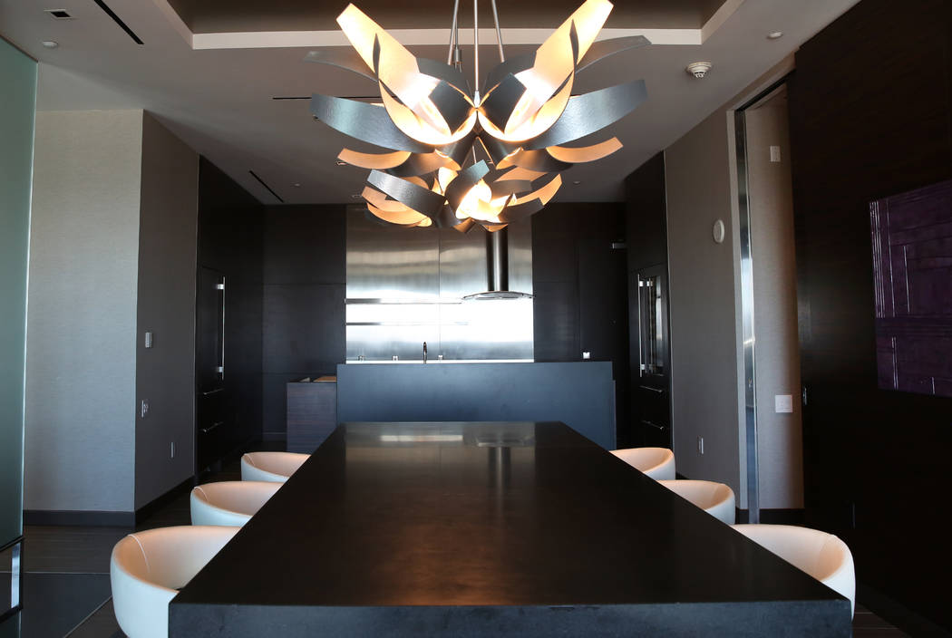 A dinning room inside a penthouse at Palms Place at 4381 W. Flamingo Rd., on Wednesday, June 14, 2017, in Las Vegas. Bizuayehu Tesfaye/Las Vegas Review-Journal @bizutesfaye