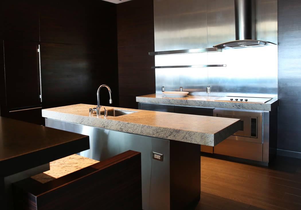 A kitchen inside a penthouse at Palms Place at 4381 W. Flamingo Rd., on Wednesday, June 14, 2017, in Las Vegas. Bizuayehu Tesfaye/Las Vegas Review-Journal @bizutesfaye