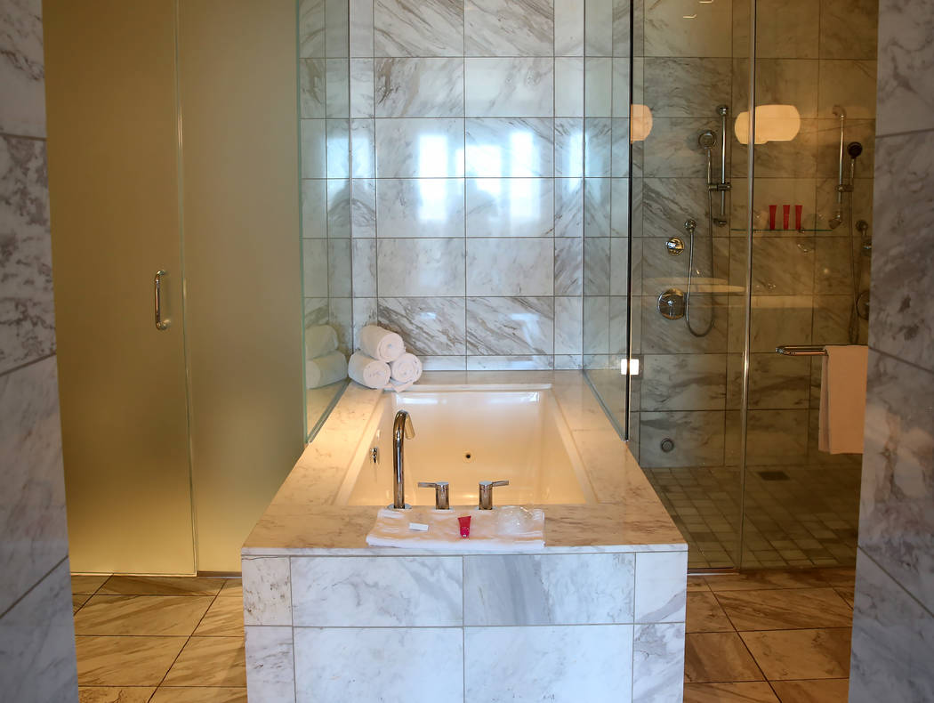 A bathroom inside a penthouse at Palms Place at 4381 W. Flamingo Rd., on Wednesday, June 14, 2017, in Las Vegas. Bizuayehu Tesfaye/Las Vegas Review-Journal @bizutesfaye