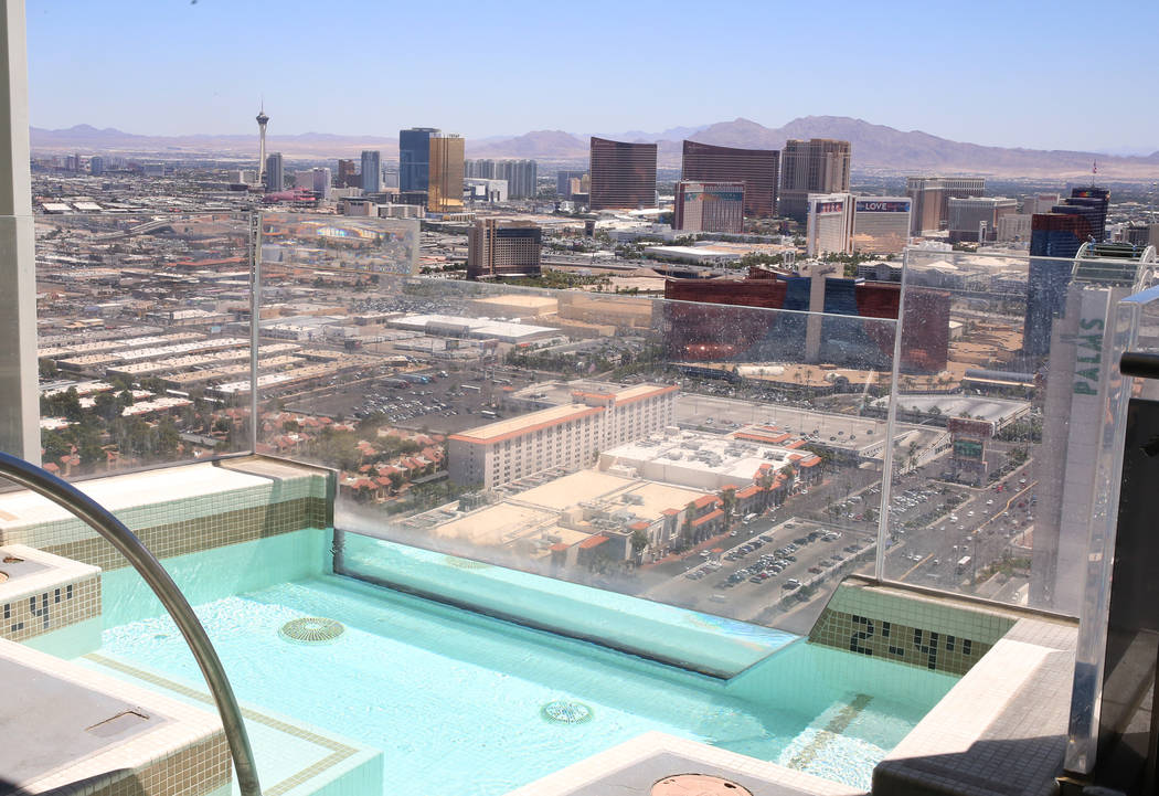 A view of the Strip from a penthouse at Turnberry Place on 2777 Paradise Rd., on Wednesday, June 14, 2017, in Las Vegas. Bizuayehu Tesfaye/Las Vegas Review-Journal @bizutesfaye