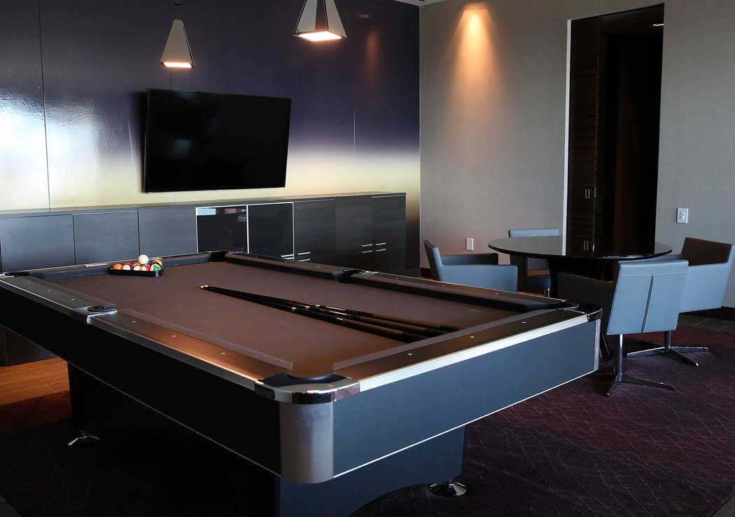 A billiard room inside a penthouse at Palms Place on at 4381 W. Flamingo Rd., on Wednesday, June 14, 2017, in Las Vegas. Bizuayehu Tesfaye/Las Vegas Review-Journal @bizutesfaye