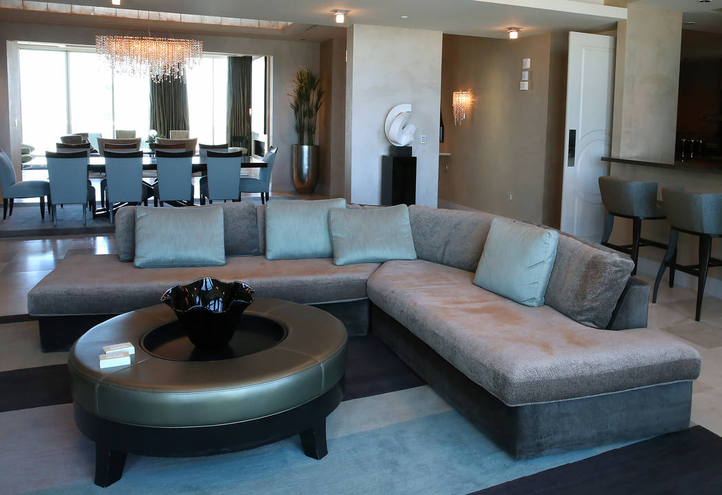 A living room inside a penthouse at Turnberry Place on 2777 Paradise Rd., on Wednesday, June 14, 2017, in Las Vegas. Bizuayehu Tesfaye/Las Vegas Review-Journal @bizutesfaye