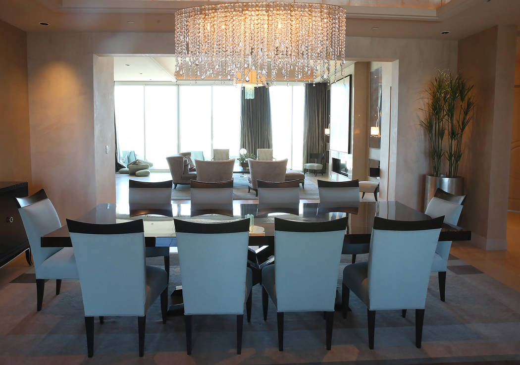 A dinning room and a living room inside a penthouse at Turnberry Place on 2777 Paradise Rd., on Wednesday, June 14, 2017, in Las Vegas. Bizuayehu Tesfaye/Las Vegas Review-Journal @bizutesfaye