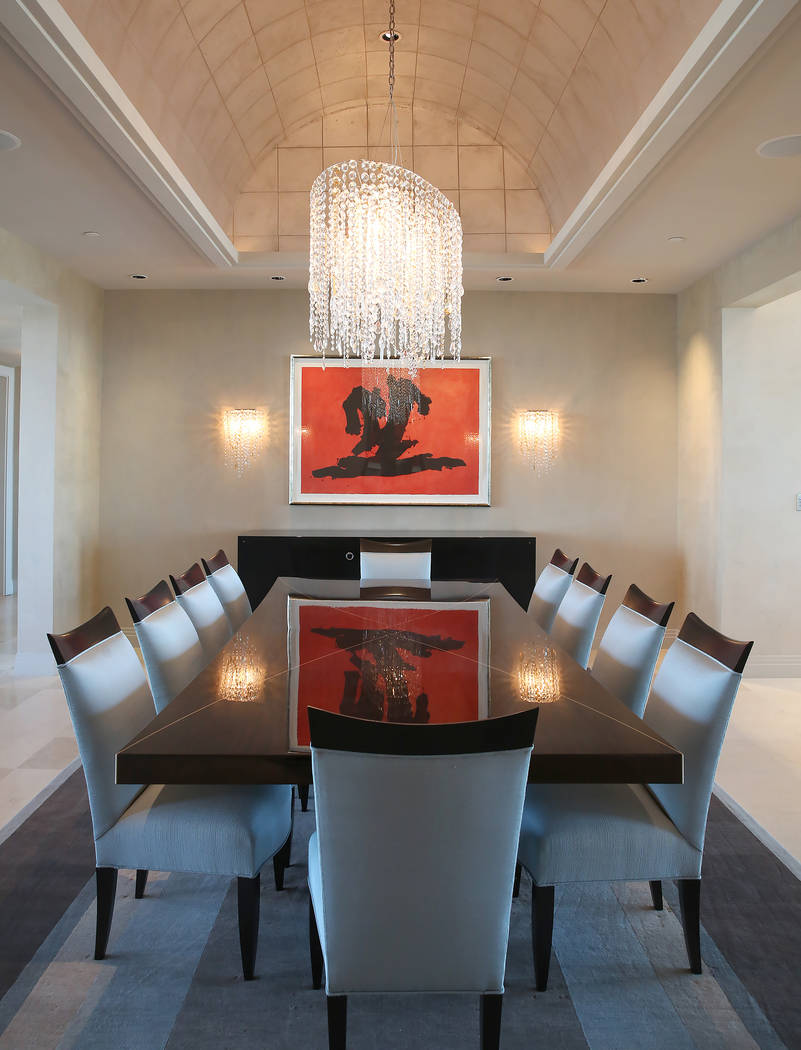 A dinning room inside a penthouse at Turnberry Place on 2777 Paradise Rd., on Wednesday, June 14, 2017, in Las Vegas. Bizuayehu Tesfaye/Las Vegas Review-Journal @bizutesfaye