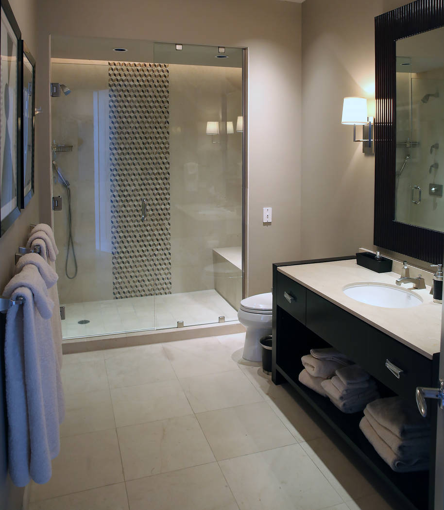 A bathroom inside a penthouse at Turnberry Place on 2777 Paradise Rd., on Wednesday, June 14, 2017, in Las Vegas. Bizuayehu Tesfaye/Las Vegas Review-Journal @bizutesfaye