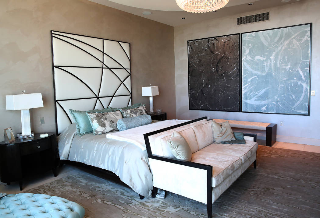 A bedroom inside a penthouse at Turnberry Place on 2777 Paradise Rd., on Wednesday, June 14, 2017, in Las Vegas. Bizuayehu Tesfaye/Las Vegas Review-Journal @bizutesfaye