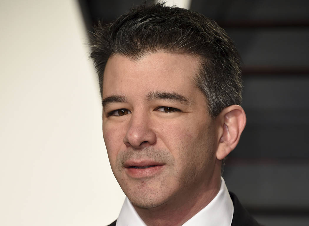 Uber CEO Travis Kalanick arrives at the Vanity Fair Oscar Party in Beverly Hills, Calif. on Sunday, Feb. 26, 2017. (Evan Agostini/Invision/AP, File)
