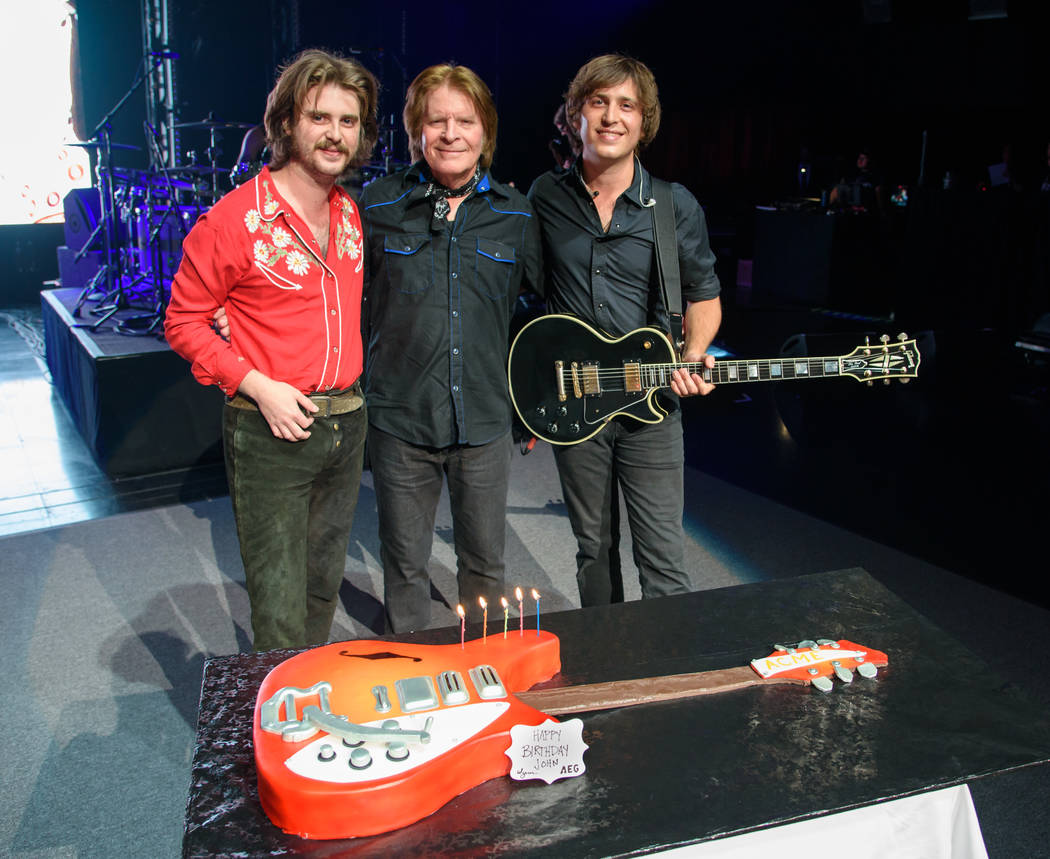 John Fogerty is shown with his sons Tyler, far left, and Shane during the celebration of his 72nd birthday at Encore Theater at Wynn Las Vegas on Wednesday, May 24, 2017. (Patrick Gray/Kabik Photo ...
