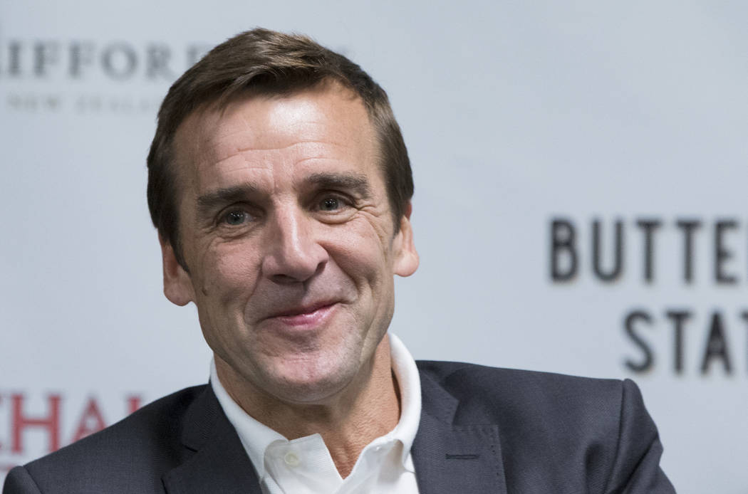 George McPhee, the general manager of Las Vegas' NHL expansion team, answers questions at a press conference at T-Mobile Arena. (Benjamin Hager/Las Vegas Review)