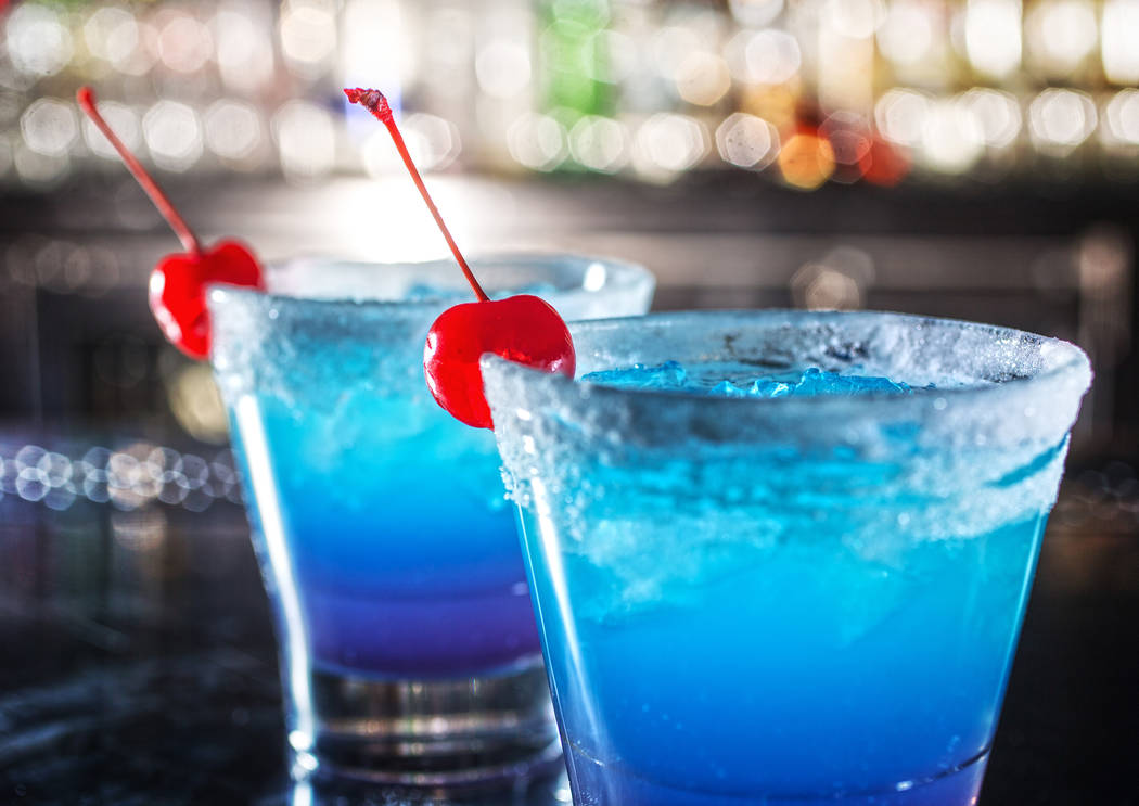 The Electric Blue EDC Cocktail with Ketel One Citron, Bacardi Superior, lemon juice, blue curaçao and blueberry Red Bull at Umami Burger at SLS. (Benjamin Hager Las Vegas Review-Journal @benjamin ...