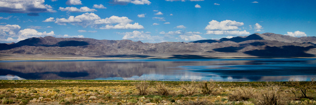 The sky reflects in the surface of Walker Lake in this panorama by Kimberly Reinhart. (National Parks Conservation Association)