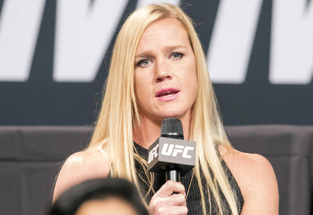 Former UFC women's bantamweight champion Holly Holm replies to a question at the UFC summer kickoff press conference at the American Airlines Center in Dallas, Texas, on May 12, 2017. Heidi Fang/L ...