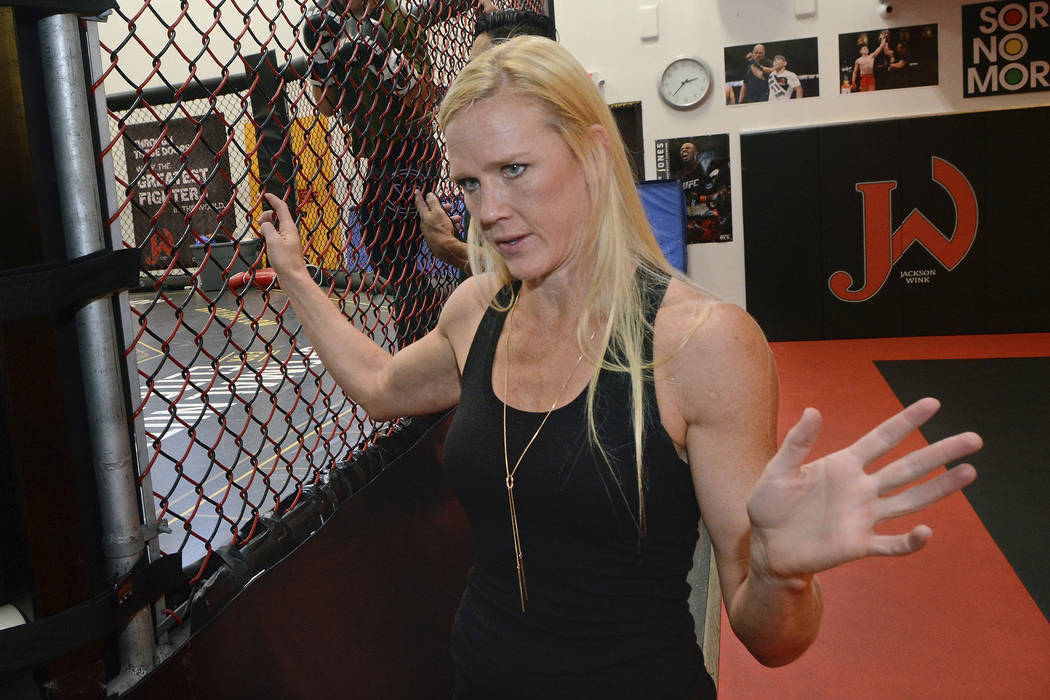 Holly Holm talks abut her upcoming fight with Bethe Correia in the main event of UFC Fight Night 111 in Singapore on June 17. Thursday, June 8, 2017. (Jim Thompson/The Albuquerque Journal via AP)