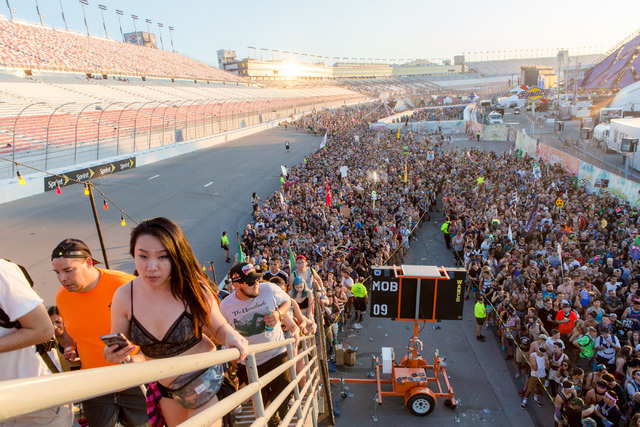 Attendees slowly make their way out of one of the exits on the third night of Electric Daisy Carnival at Las Vegas Motor Speedway early Monday morning, June 20, 2016. (Elizabeth Brumley//Las Vegas ...