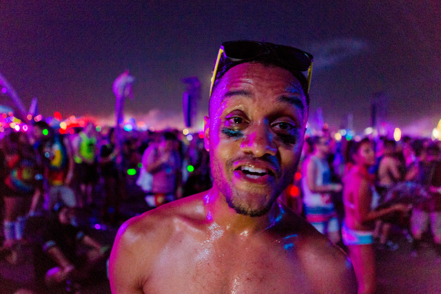 Kyle Limin is hot from dancing to the artists Galantis that preformed on the stage kineticFIELD as the final set for the third night of Electric Daisy Carnival at Las Vegas Motor Speedway early Mo ...