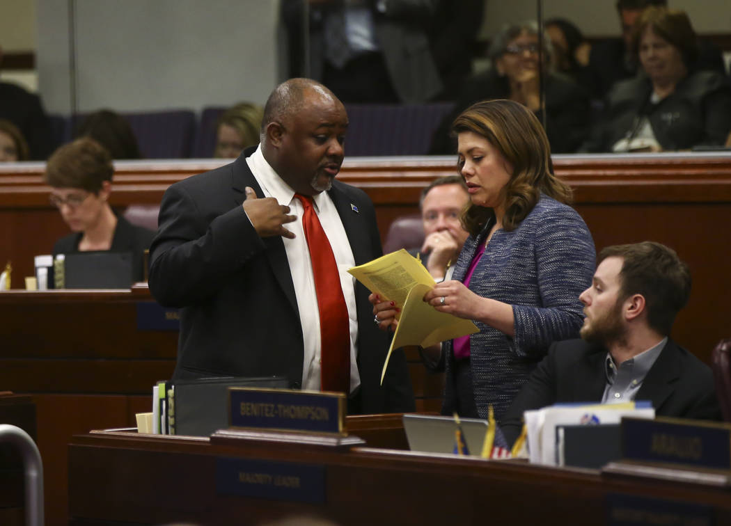 Assembly Speaker Jason Frierson, D-Las Vegas, left, and Assembly Majority Floor Leader Teresa Benitez-Thompson, D-Reno, during the final hour of the Nevada Legislature at the Legislative Building  ...