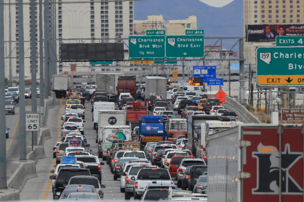 Traffic backs up on I-15 in Las Vegas on Saturday, Feb. 25, 2017. (Brett Le Blanc/Las Vegas Review-Journal) @bleblancphoto