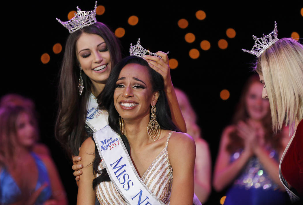 Andrea Martinez is crowned Miss Nevada 2017 by Miss Nevada 2016 Bailey Gumm at the Tropicana hotel-casino in Las Vegas on Friday, June 1, 2017. Morgan Lieberman Las Vegas Review-Journal
