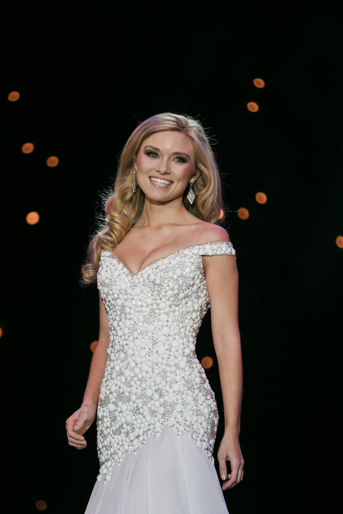 Alexis Hilts, Miss Las Vegas 2017, with her evening wear appearance at the 2017 Miss Nevada pageant at Tropicana hotel-casino on Friday, June 16, 2017, in Las Vegas. Morgan Lieberman Las Vegas Rev ...