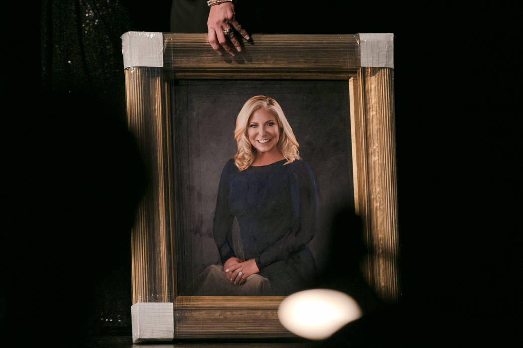 A handpainted portrait given to parting Executive Director/President Jodi Hale Fonfa at the 2017 Miss Nevada pageant at Tropicana hotel-casino on Friday, June 16, 2017, in Las Vegas. Morgan Lieber ...