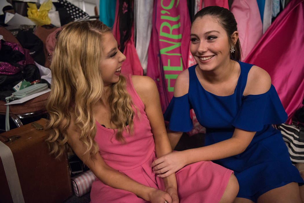 Aspen Larsen, right, Miss Hidden Valley's Outstanding Teen 2017, with Devin Jostmeyer, Miss Pleasant Valley's Outstanding Teen 2017, in the dressing room before the 2017 Miss Nevada pageant at Tro ...