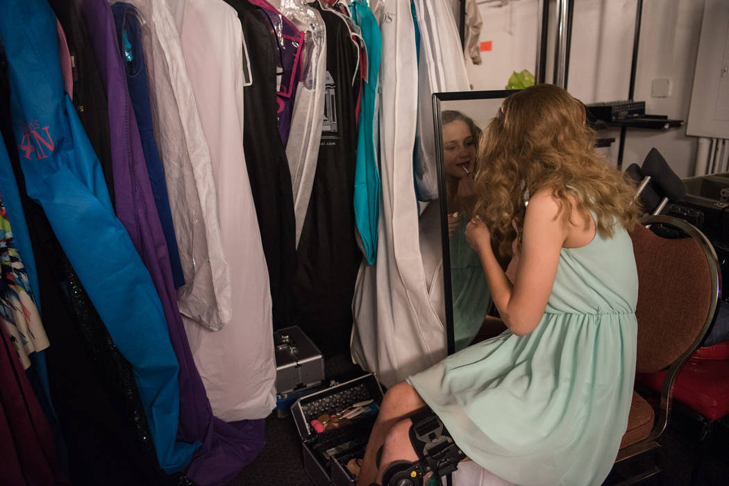 Ashley Harrison puts on last minute touches in the dressing room before the 2017 Miss Nevada pageant at Tropicana hotel-casino on Friday, June 16, 2017, in Las Vegas. Morgan Lieberman Las Vegas Re ...
