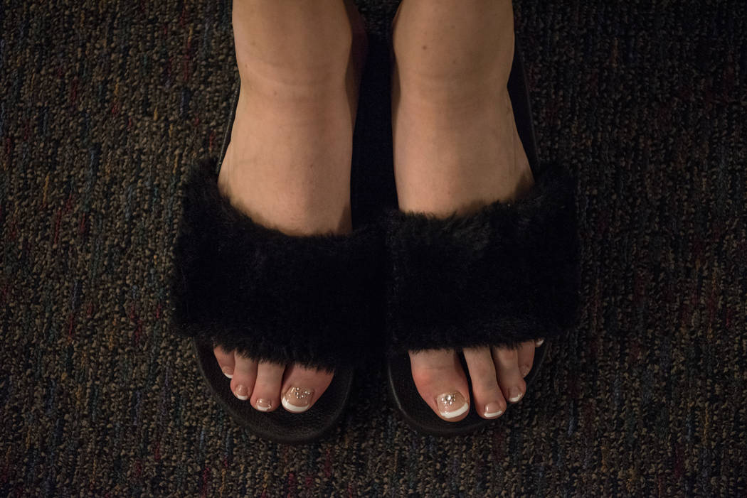 Cozy toes for Brooklyn Palmer, Miss Mount Rose's Outstanding Teen 2017, in the dressing room before the 2017 Miss Nevada pageant at Tropicana hotel-casino on Friday, June 16, 2017, in Las Vegas. M ...