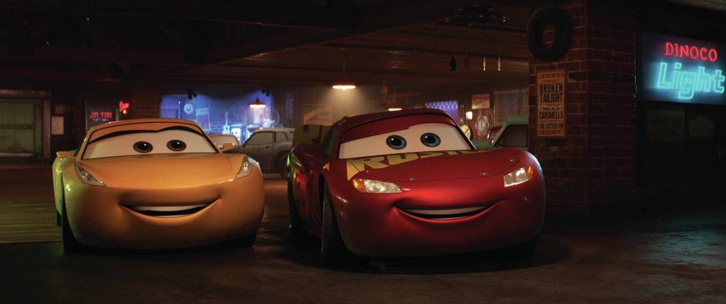 CARS 3 (Pictured) - Cruz Ramirez (voice of Cristela Alonzo) and Lightning McQueen (voice of Owen Wilson). ©2017 Disney•Pixar. All Rights Reserved.