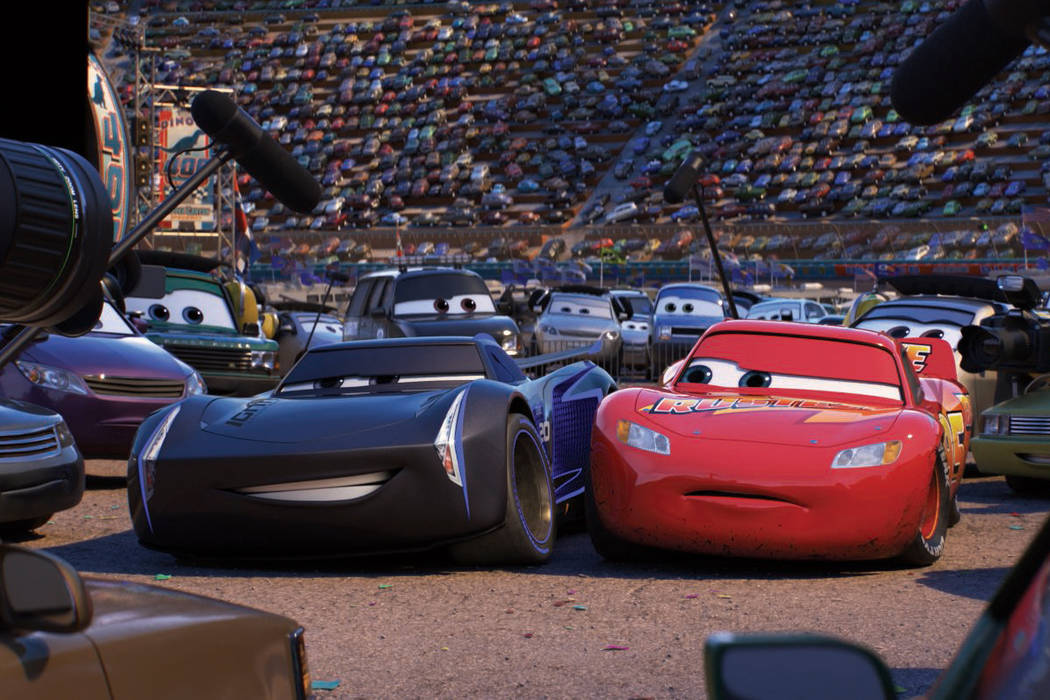 Jackson Storm (voice of Armie Hammer) and Lightning McQueen (voice of Owen Wilson) in Cars 3. 2017 Disney Pixar.