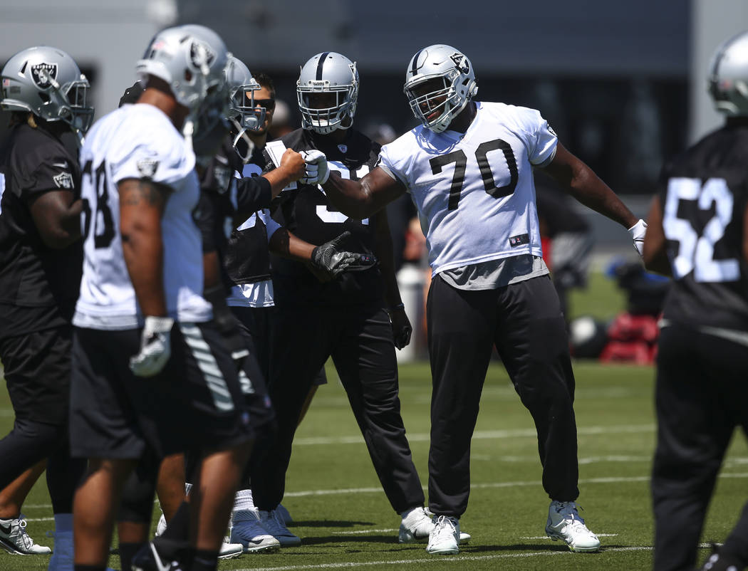 Oakland Raiders offensive guard Kelechi Osemele (70) during day one of a mini-camp at the Raiders headquarters and training facility in Alameda, Calif. on Tuesday, June 13, 2017. Chase Stevens Las ...