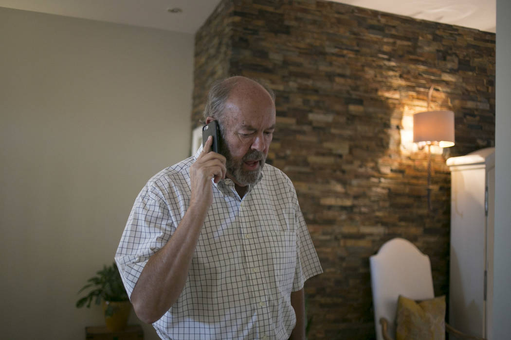 Henderson City Council incumbent John Marz receives an update that results are coming in at his house in Henderson, Tuesday, June 13, 2017. Gabriella Angotti-Jones Gabriella Angotti-Jones Las Vega ...