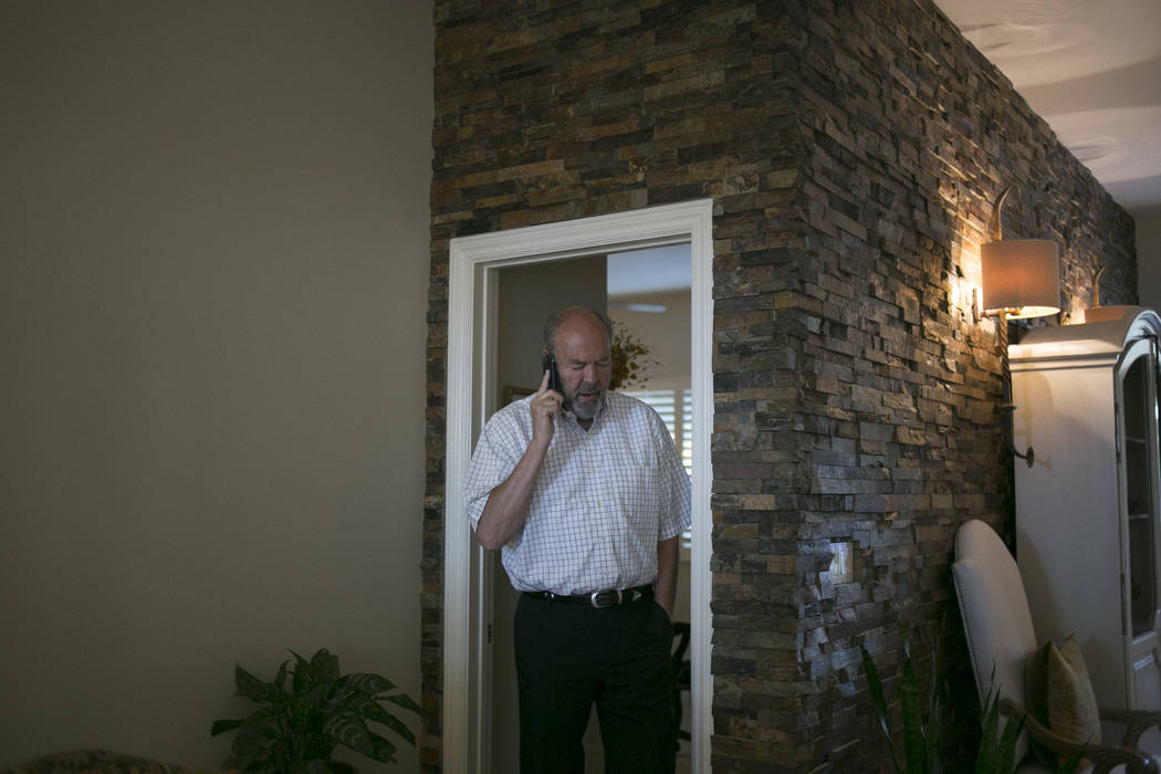 Henderson City Council incumbent John Marz receives an update on the City Council Board 3 election results at his house in Henderson, Tuesday, June 13, 2017. Gabriella Angotti-Jones Gabriella Ango ...