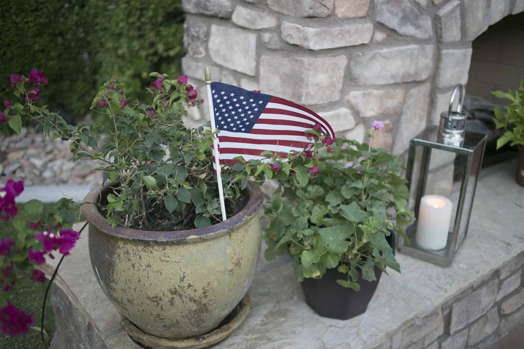 An American flag in a flower pot at John Marz's house in Henderson, Tuesday, June 13, 2017. Gabriella Angotti-Jones Gabriella Angotti-Jones Las Vegas Review-Journal @gabriellaangojo