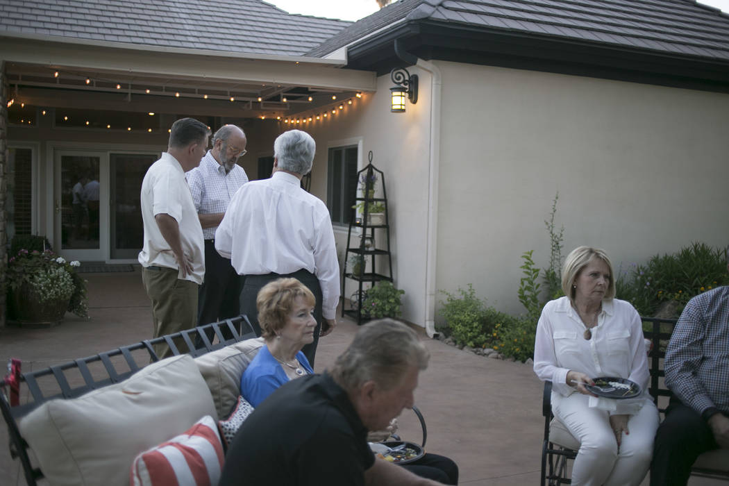 People gather during an election night party at Henderson City Council incumbent John Marz's house in Henderson, Tuesday, June 13, 2017. Gabriella Angotti-Jones Gabriella Angotti-Jones Las Vegas R ...