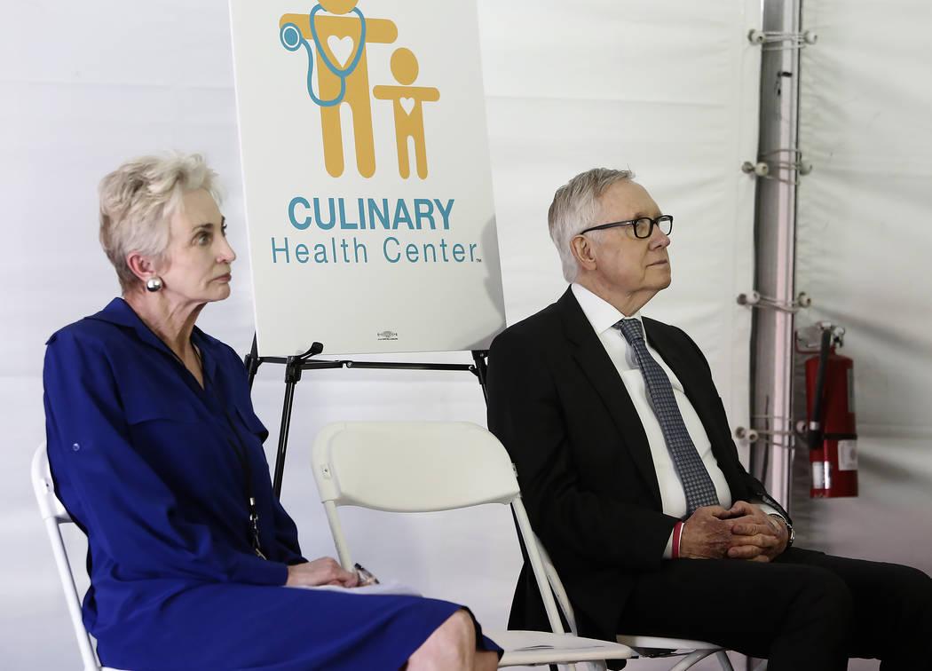 U.S. Senator Harry Reid, D-Nevada, right, and Kathy Silver, president of Culinary Health Fund, attend the grand opening ceremony of Culinary Health Center on Thursday, June 15, 2017, in Las Vegas. ...