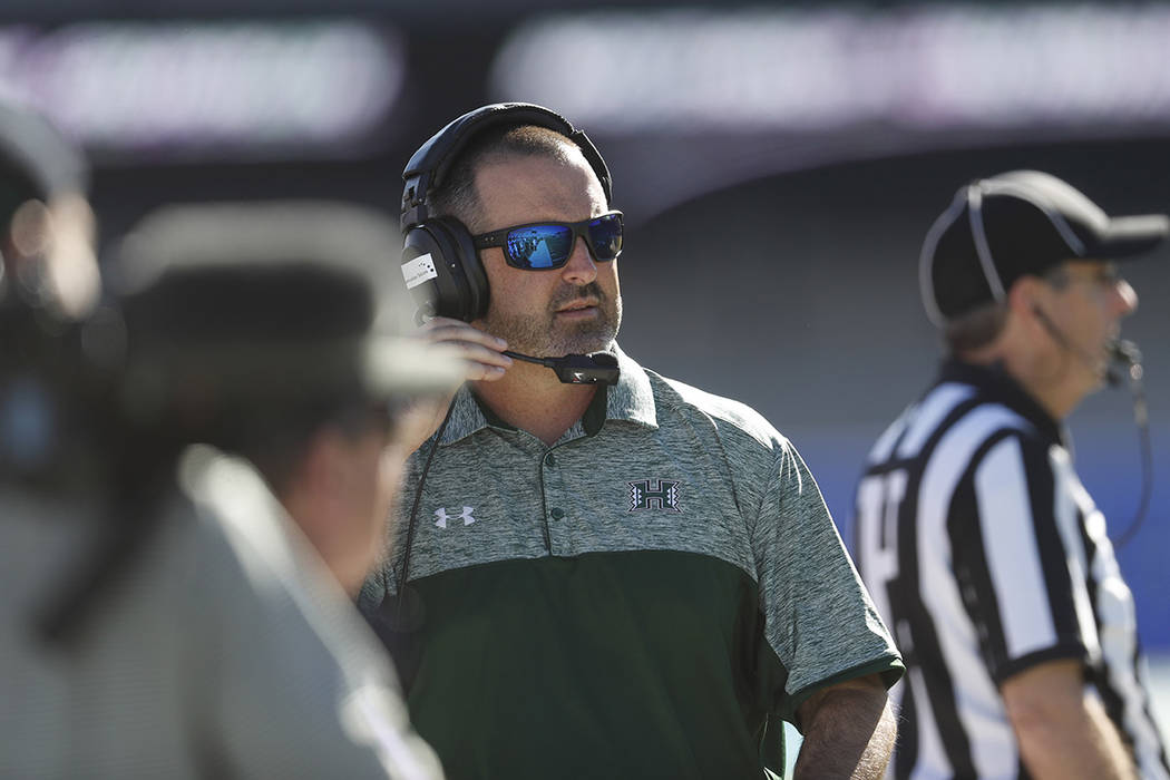 Hawaii Warriors head coach Nick Rolovich in the second half of an NCAA college football game Saturday, Oct. 22, 2016, at Air Force Academy, Colo. Hawaii won 34-27 in double overtime. (AP Photo/Dav ...