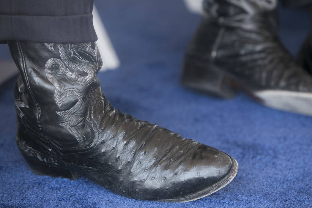 Nevada Governor Brian Sandoval's boots at the ceremonial groundbreaking of Aristocrat Technologies' new office complex in Summerlin, Friday, June 23, 2017.  (Gabriella Angotti-Jones/Las Vegas Revi ...