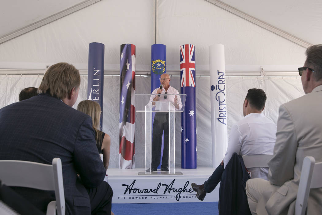 Kevin T. Orrock, Summerlin President of the Howard Hughes Corporation, speaks before the ceremonial groundbreaking of Aristocrat Technologies' new office complex in Summerlin, Friday, June 23, 201 ...