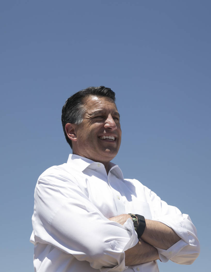 Nevada Governor Brian Sandoval at the ceremonial groundbreaking of Aristocrat Technologies' new office complex in Summerlin, Friday, June 23, 2017.  (Gabriella Angotti-Jones/Las Vegas Review-Journ ...