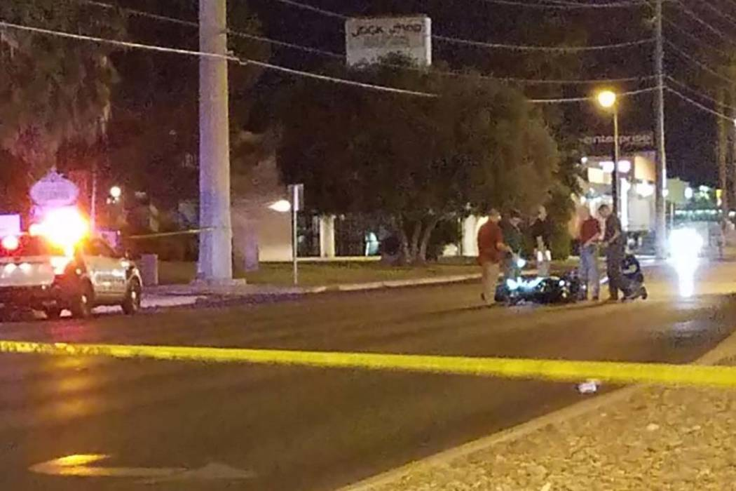 A motorcyclist was killed in a two-vehicle crash late June 13, 2017, Tuesday on eastbound Sahara Avenue, east of South Jones Boulevard, according to Metropolitan Police Department. (Mike Shoro/Las ...