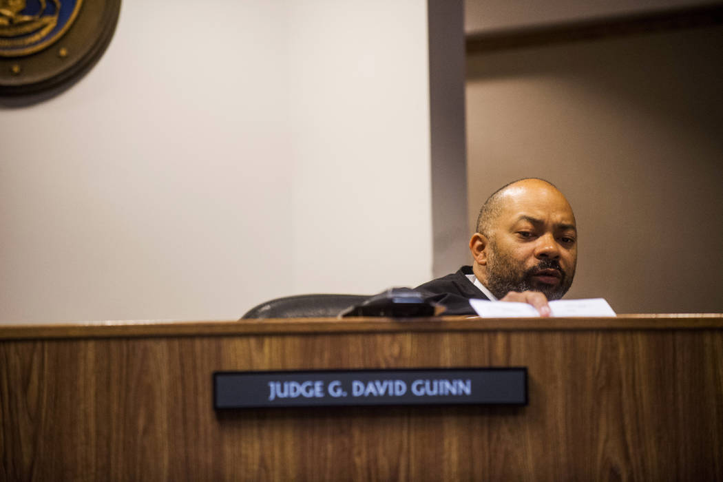 Genesee District Judge David Guinn authorizes charges Wednesday, June 14, 2017, in Flint, Mich., for Department of Health and Human Services Director Nick Lyon and Chief Medical Executive Dr. Eden ...