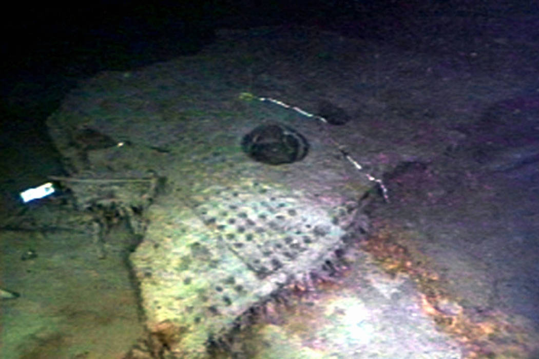 A 21-ton section of the hull from the Titanic lies on the floor of the Atlantic Ocean off the coast of Newfoundland on Aug. 12, 1996. (Discovery Channel Online/File, AP)