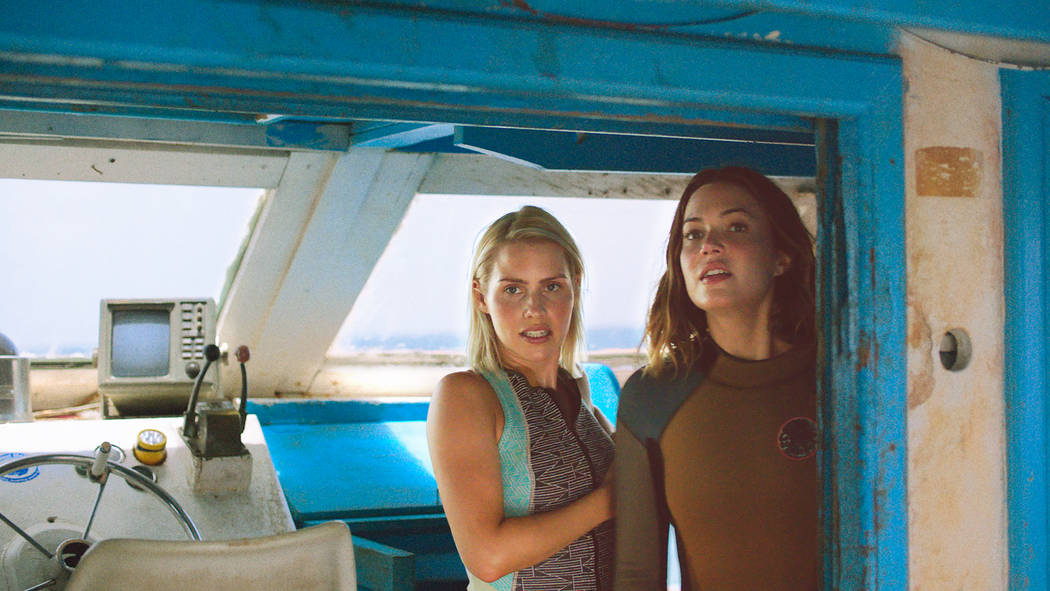 Kate (Claire Holt) and Lisa (Mandy Moore) gather the courage to dive with sharks in 47 METERS DOWN Photo credit: Entertainment Studios Motion Pictures