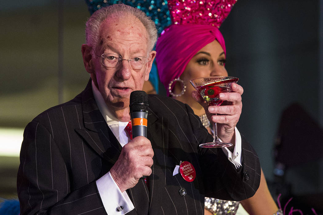 Former Las Vegas Mayor Oscar Goodman during a celebration of tourism hosted by the Las Vegas Convention and Visitors Authority at the Fashion Show mall in Las Vegas on Tuesday, May 9, 2017. (Miran ...